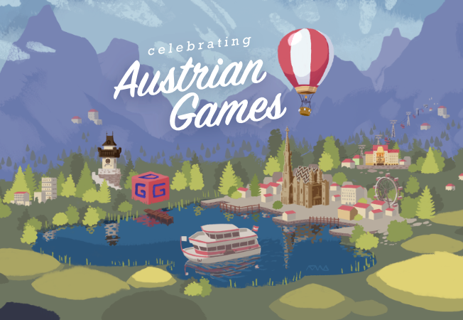 illustration of austrian landscape with austrian games