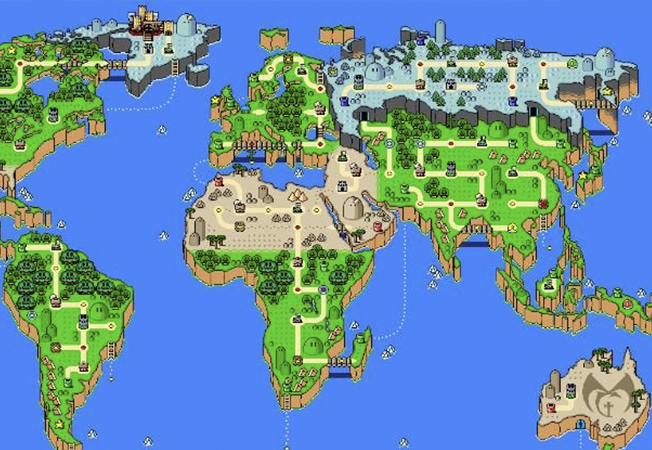 world map in super mario style